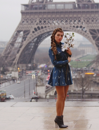 La Tour Eiffel dress and Braided Hairstyle Look