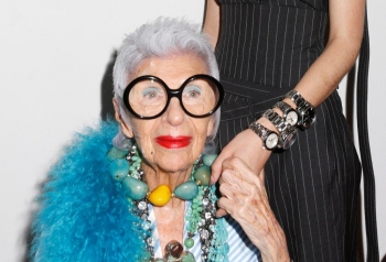 Iris Apfel, ambassador for Tag Heuer at New York Fashion Week