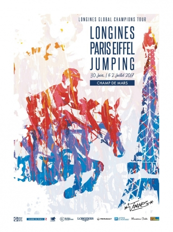 The artist JonOne sketches the poster for Longines Paris Eiffel Jumping