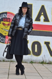 Pleated skirt and jacket