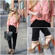 Peach blouse and Jeffrey Campbell shoes