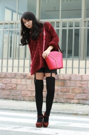 Burgundy sweater, pumps and vintage YSL bag