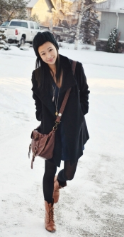 Knit dress and jacket for winter look