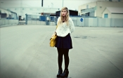 Flower Mesh Sweater and Yellow Satchel