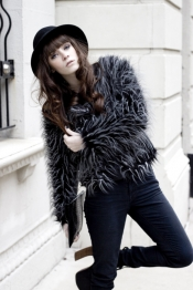 Faux fur coat and Jeffrey Campbell lanas