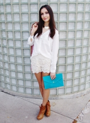 Lace shirt, White Button Down and Turquoise Envelope Clutch