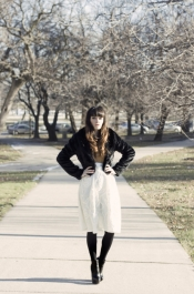 Pitaya faux fur jacket and white skirt
