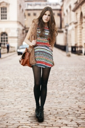 Print dress and faux fur
