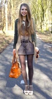Cardigan, shorts and suede wedge sandals