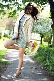 Blue and yellow dress with blazer
