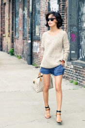 Pastel color accent sweater and Zara blue print shorts
