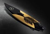 The surfboard made by Mercedes Benz and Garrett McNamara