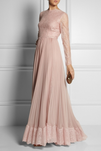 VALENTINO Lace and silk gown