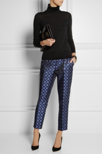 J.CREW Collection Café silk-jacquard Capri pants