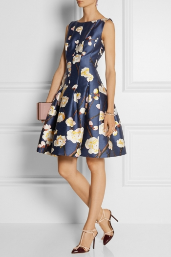 OSCAR DE LA RENTA Floral-print silk and wool-blend satin dress
