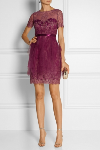 NOTTE BY MARCHESA Lace-appliquéd tulle mini dress