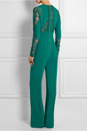 c5e87826fb05 ELIE SAAB Lace-paneled crepe jumpsuit