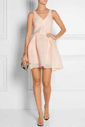 MAJE Rayure mesh-striped jersey mini dress