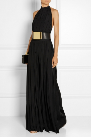 BALMAIN Pleated stretch-jersey jumpsuit