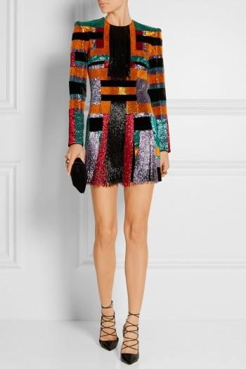 BALMAIN Color-block beaded velvet mini dress