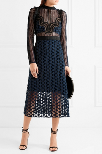 SELF-PORTRAIT Ruffled georgette-trimmed guipure lace dress