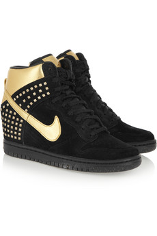 NIKE suede and metallic leather wedge sneakers icon