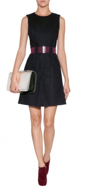 VICTORIA BECKHAM DENIM Cotton Belted Dress in Navy