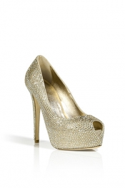 LE SILLA Platinum Full Strass Etoile Peep-Toe Pumps
