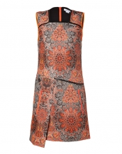 HELMUT LANG Neon Red Jacquard Medallion Dress