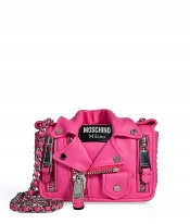 MOSCHINO Leather Small Biker Jacket Shoulder Bag