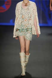 ANNA SUI Lace-covered printed silk tank
