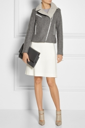VANESSA BRUNO Lace-up wool-blend felt biker jacket