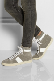 SAINT LAURENT Leather-trimmed suede high-top sneakers