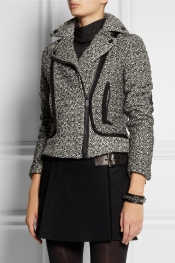 KARL LAGERFELD Burel sateen-trimmed tweed jacket