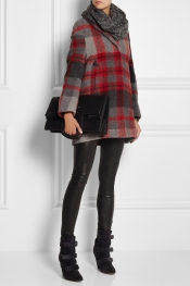 BURBERRY BRIT Plaid wool-blend coat