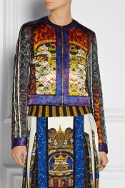 JUST CAVALLI Printed silk-satin jacket