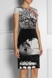 MARY KATRANTZOU Landscape-print silk dress