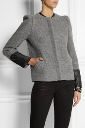 MAJE Dream leather-trimmed wool jacket