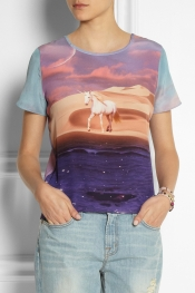 LULU & CO Unicorn-print silk-crepe top