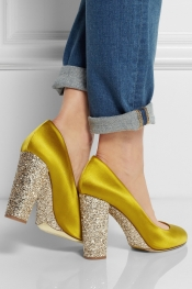 J.CREW Collection Etta glitter-embellished satin pumps