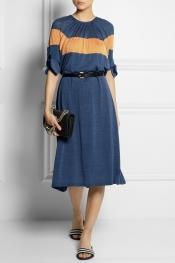 FENDI Color-block fine-knit silk dress