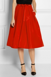 TIBI Pleated silk-faille skirt
