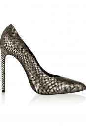 SAINT LAURENT Metallic snake-effect leather pumps