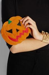 CHARLOTTE OLYMPIA Boo! Pumpkin suede clutch