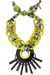 ETRO Resin and printed jersey necklace