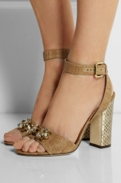 DOLCE & GABBANA Embellished raffia and ayers sandals