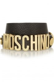 MOSCHINO Textured-leather wrap bracelet
