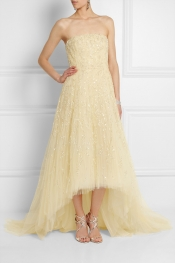 OSCAR DE LA RENTA Strapless embellished tulle gown