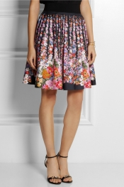 ALBERTA FERRETTI Floral-print cotton-blend skirt