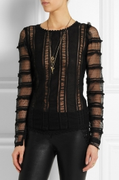 ISABEL MARANT Quena embroidered cotton, lace and silk top